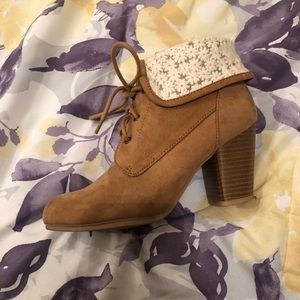 Tan Ankle Boots with Floral Lace Inspired Detail